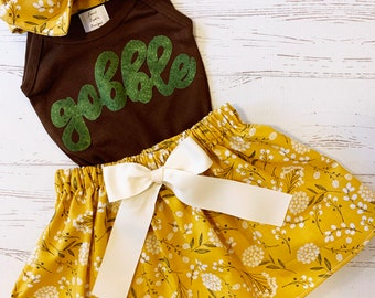 Thanksgiving Outfit for Girls, Floral Mustard Skirt, Thanksgiving Baby Girls, Mustard Skirt, Gobble Script Shirt, Youth Girl Thanksgiving