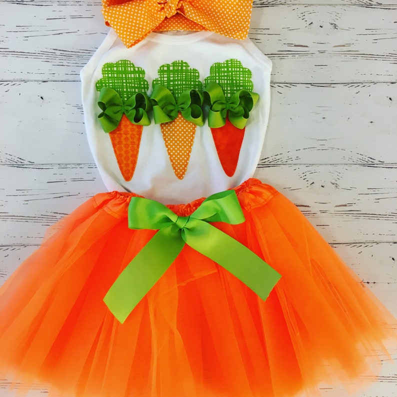 Easter Tutu Dress for toddler Easter Carrot Applique Shirt image 0