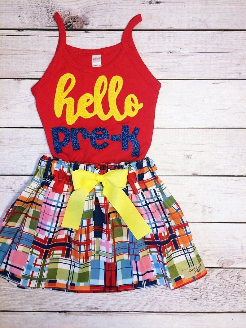 First Day of School Shirt and Madras Plaid Skirt Set Preppy image 0