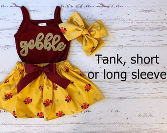 Thanksgiving Outfit for Girls, Mustard Yellow Skirt, Gobble Skript Shirt Kids, Maroon and Gold, Thanksgiving Sisters, Toddler Thanksgiving