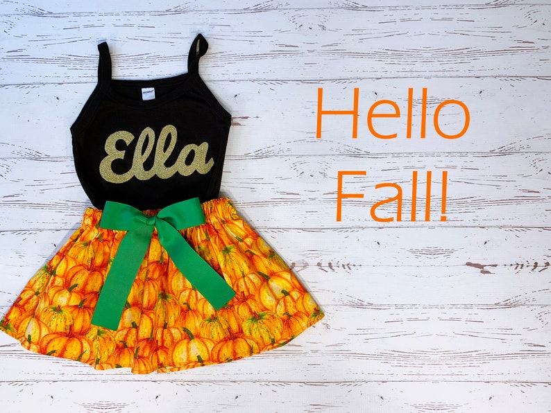 Personalized Pumpkin Patch Outfit Toddler Girl Miss October image 0