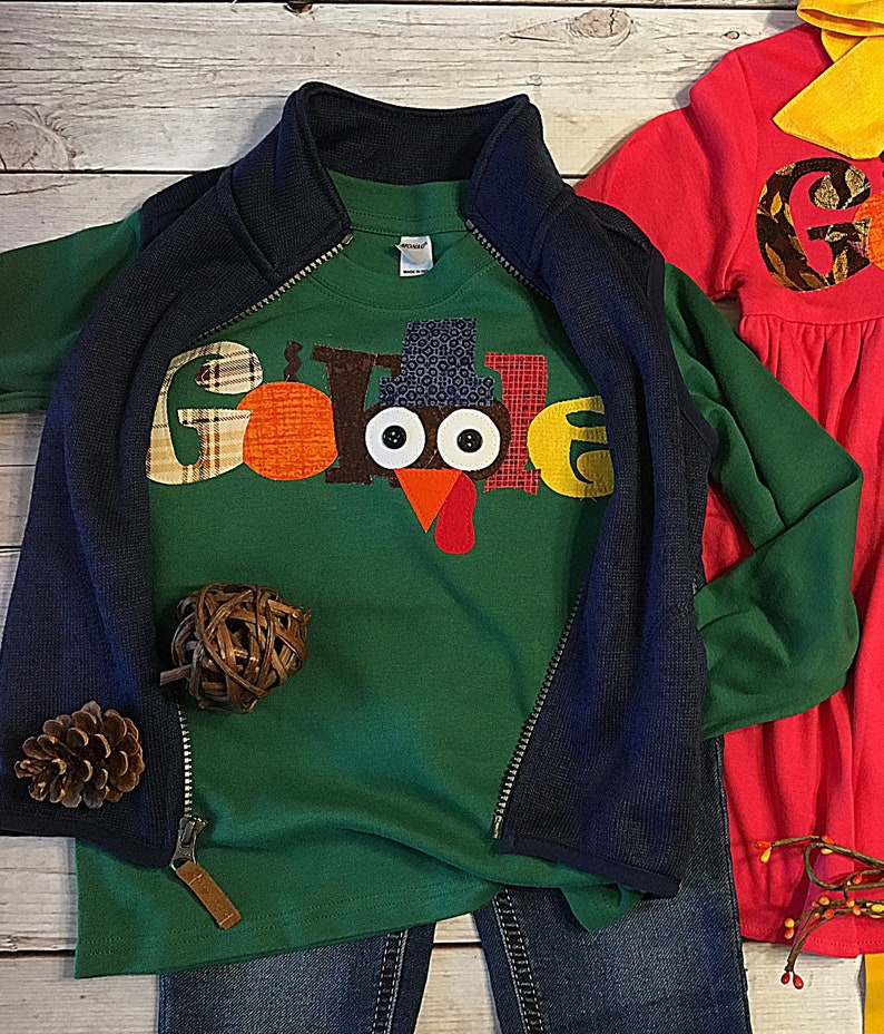 Thanksgiving Gobble Shirt for Boys Green Thanksgiving Shirt image 0