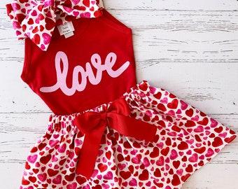 Valentine Outfit for Girls, Girls Valentine Outfit, Kisses Skirt, Black and Red, Valentine Outfit Kids