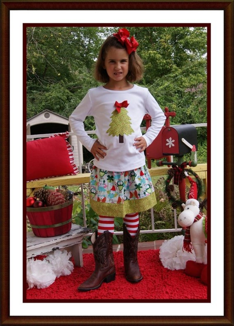 Country Christmas Outfit for Girls 2 Piece Skirt Set image 0