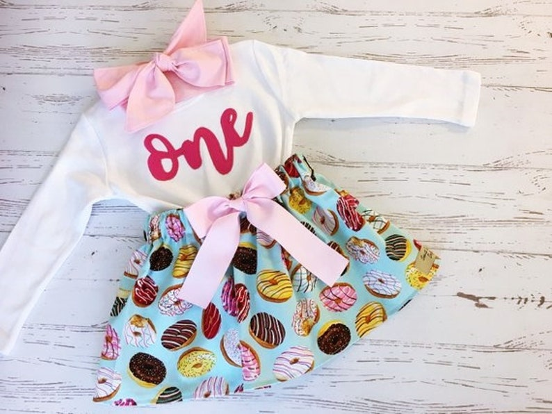 Sweet One Donut Birthday Outfit ANY BIRTHDAY Blue and Pink image 0