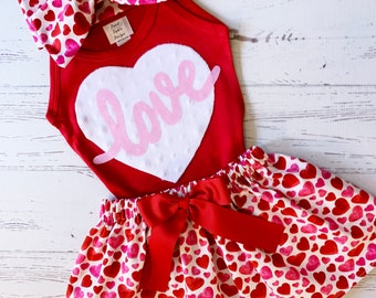 Valentine Outfit for Girls, Girls Valentine Outfit, Heart Skirt, Black and Red, Valentine Outfit Kids