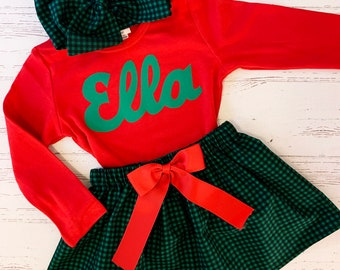 Personalized Buffalo Plaid Outfit for Girls, Buffalo Plaid Skirt, Traditional Christmas Dress, Christmas Outfit Sisters, Matching Family