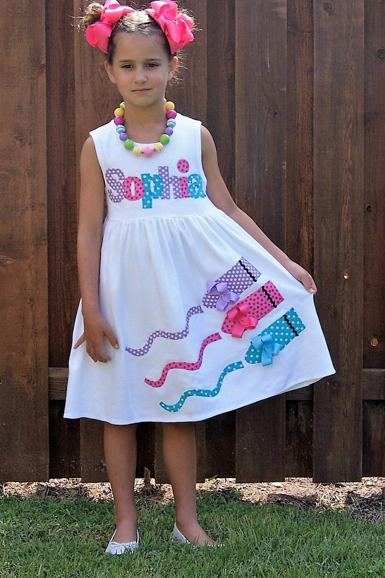 1ddb67046 Back to School Dress Fabric Crayon Applique Personalized