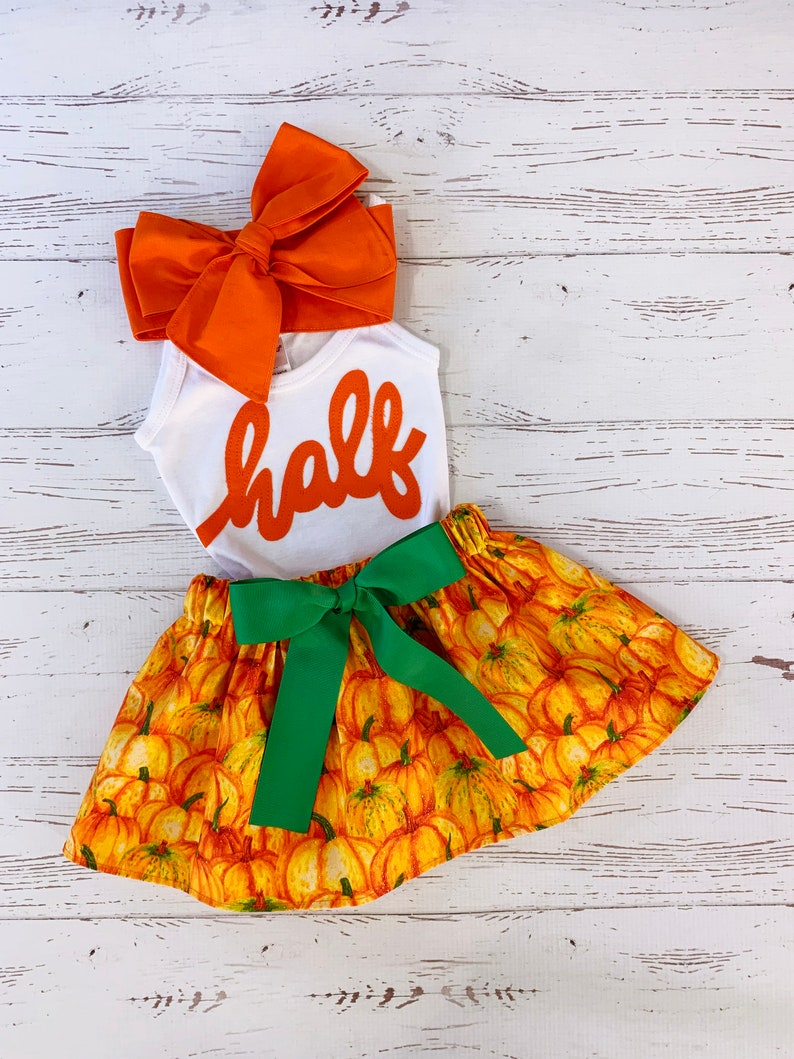 Half Birthday Pumpkin Outfit Miss October Birthday Outfit image 0