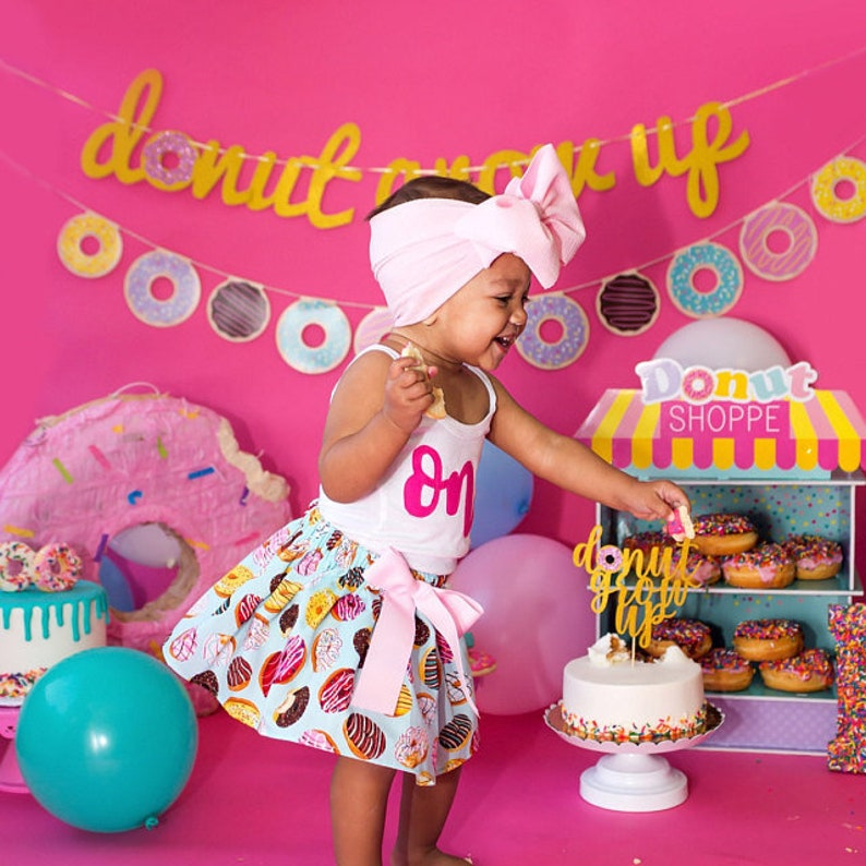 Donut Birthday Outfit 1 ANY AGE Short Sleeve and Long image 0