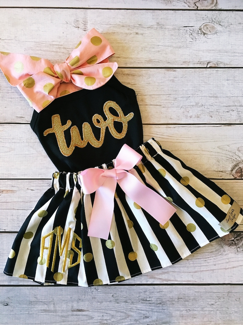 Second Birthday Outfit ANY BIRTHDAY Black Pink Gold Birthday image 0