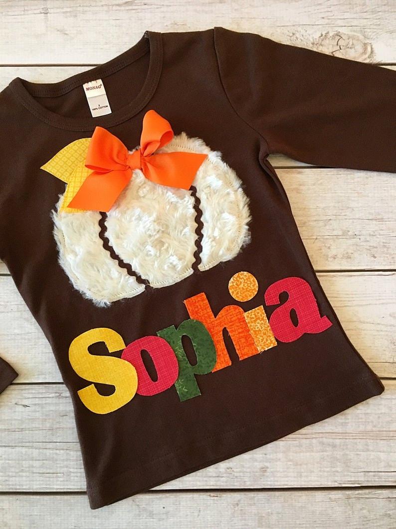 Minky Pumpkin Thanksgiving Shirt Pumpkin Shirt for Girls Personalized Shirt Toddler Girls