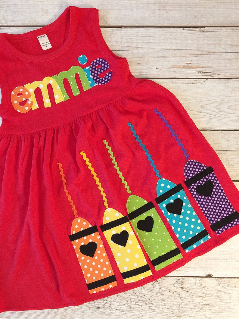 Back to School Dress with Name and Fabric Applique Crayons image 0