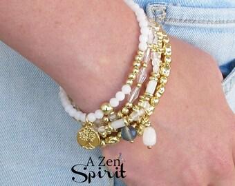 Buddha Charm Bracelet Set,Five Bracelet Set, Gold charms Bracelet,Boho Style Adjustable Bracelet