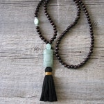 Aventurine 108 Bead Mala,  Mindful Living,  Stone Mala, Be Well Gifts, Meditation Beads, Tassel Necklace