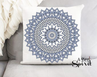 Blue Medallion Pillow, Blue Pillow, Pattern Pillow, Dusty Blue
