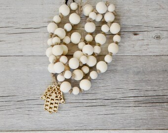 Hamsa Wood Beaded Garland
