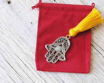 Hamsa, Good Luck Charm, Hand of Fatima, Protection Amulet, Focus Jewelry