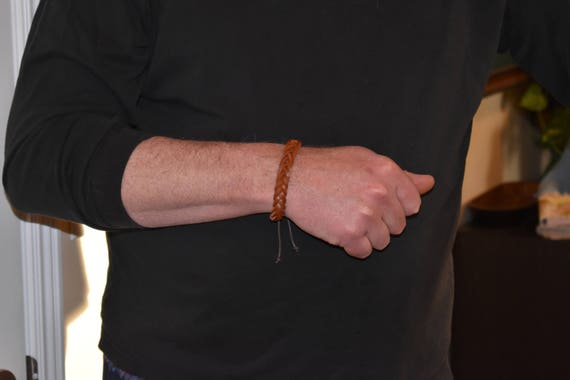 Brown Leather Braided Bracelet, Boho Style, Mens Leather Bracelet, Rock Star Style