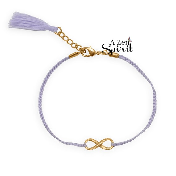 Gold and purple Infinity Tassel Bracelet