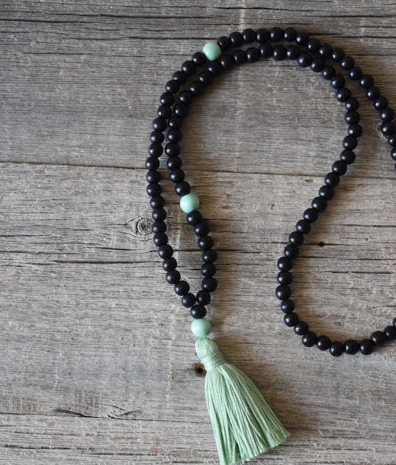 108 Ebony Bead Meditation Mala with Mint Green Tassel