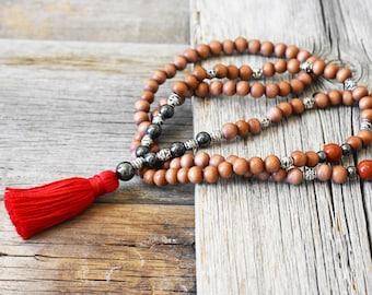 Spirit Healer Mala, 108 Bead Red Jasper Mala | Meditation Necklace | Metaphysical Jewelry