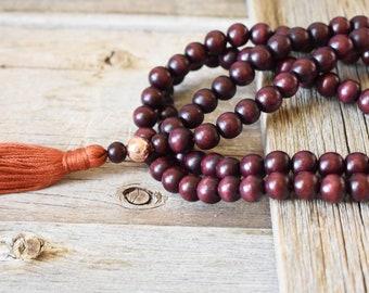 108 Bead Meditation Mala | Big and Tall Size Meditation Mala | Rose Gold Hematite Mala | Spiritual Jewelry | For Stylish Men | Mans Mala