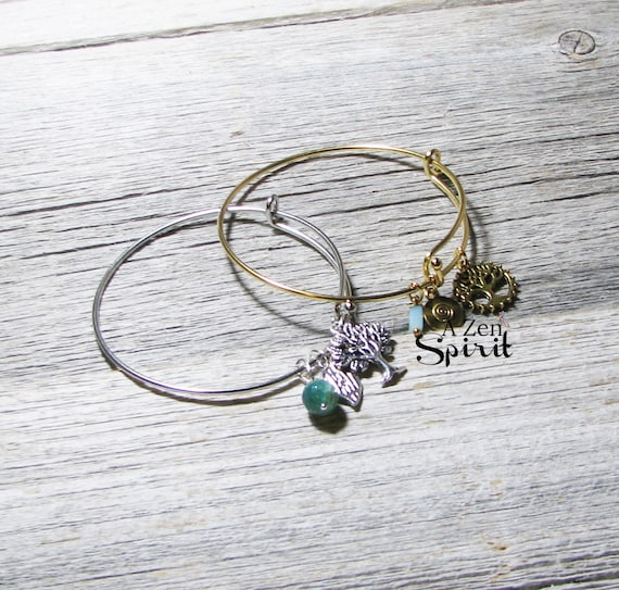 Tree of Life Bracelet Set, Charm Bracelets, Yoga Jewelry, Zen