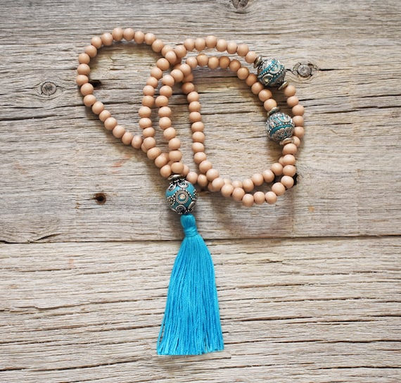 108 Bead Meditation Mala, Blue and silver Beads, One Only
