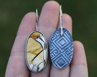 yellow earrings, gemstone earrings, stone earrings, oval earrings, statement earrings, artisan earrings, long earrings, original earrings