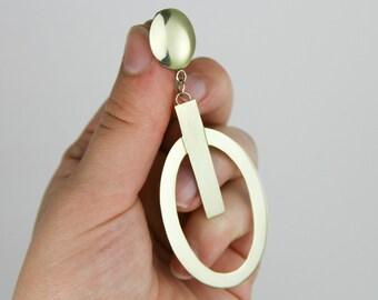 brass earrings, geometric earrings, statement earrings, modern earrings, contemporary earrings, fashion earrings, gold, brass jewelry
