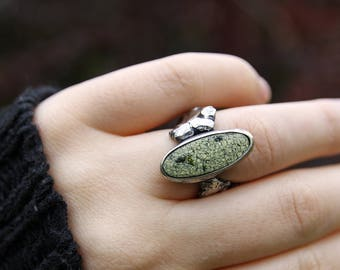 N size ring, 6 1/2 size ring, serpentine statement ring, free form silver ring, black silver ring, elf ring, woodland ring, fantasy ring