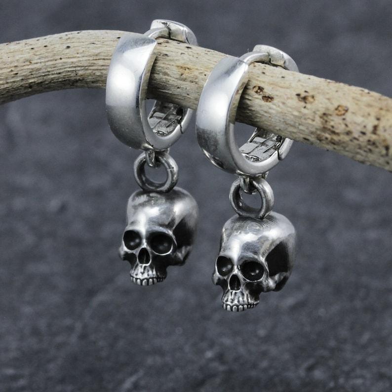 Chunky skull earrings 925 sterling silver hoop image 1