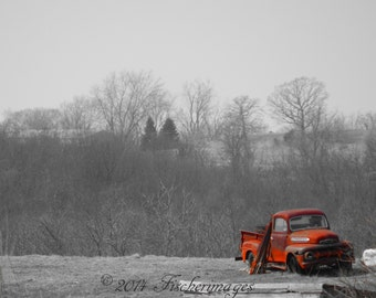 Red Truck in Field Wall Art Home Decor Photo Print Fine Art Photography
