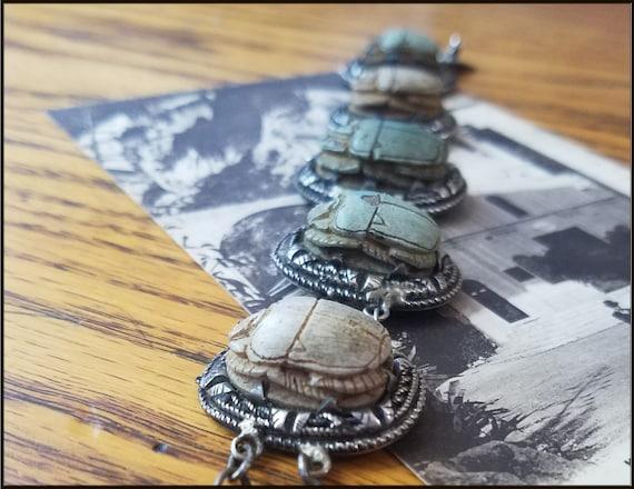 Vintage Egyptian Revival Scarab Bracelet - image 8