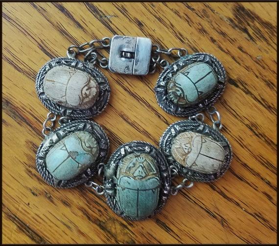 Vintage Egyptian Revival Scarab Bracelet - image 9