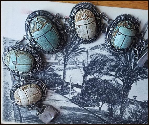 Vintage Egyptian Revival Scarab Bracelet - image 2