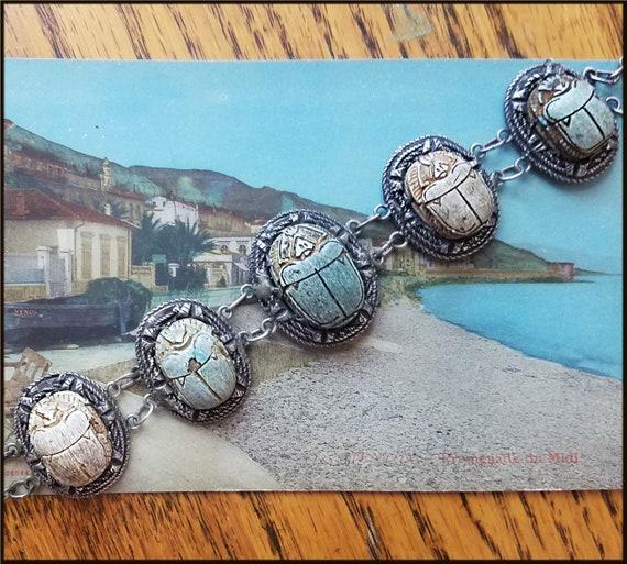 Vintage Egyptian Revival Scarab Bracelet - image 4
