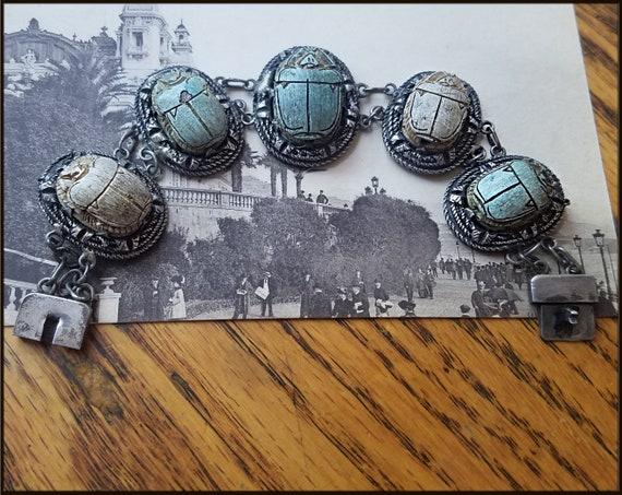 Vintage Egyptian Revival Scarab Bracelet - image 7