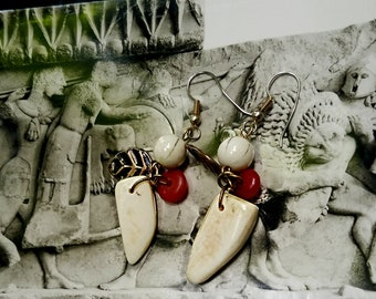 Polished Bone and Leaf Dangling Earrings