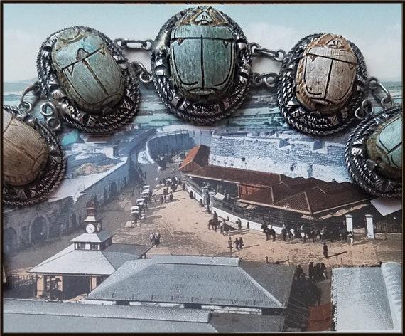 Vintage Egyptian Revival Scarab Bracelet - image 6