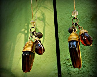 Amber Colored Glass Dangling Earrings
