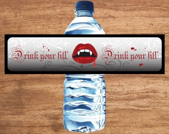Instant Download Vampire Party Water Bottle Labels