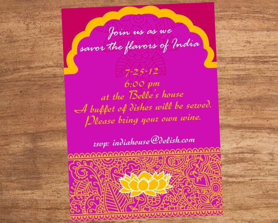 India Indian Food Party Invitation Etsy