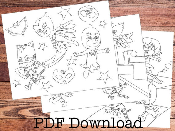 - PJ Masks Coloring Pages. 3 Page Immediate Download PDF. Color Etsy