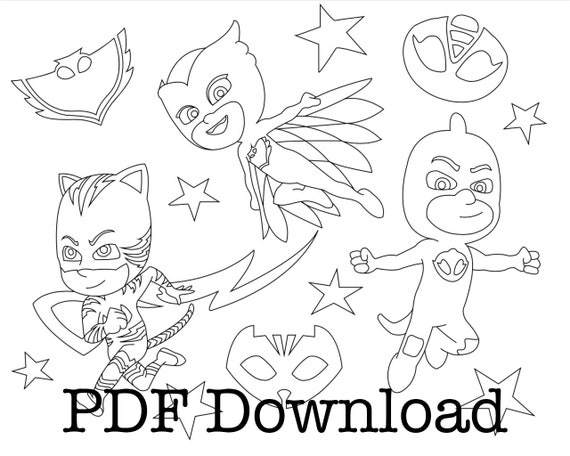 PJ Masks Coloring Pages. 3 Page Immediate Download PDF. Color Etsy
