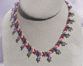 Woven Pink and Blue Beaded Choker