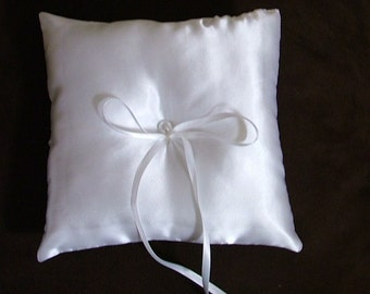 custom made white satin wedding ring bearer pillow