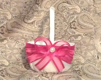 wedding flower girl basket ivory or white with pink custom made