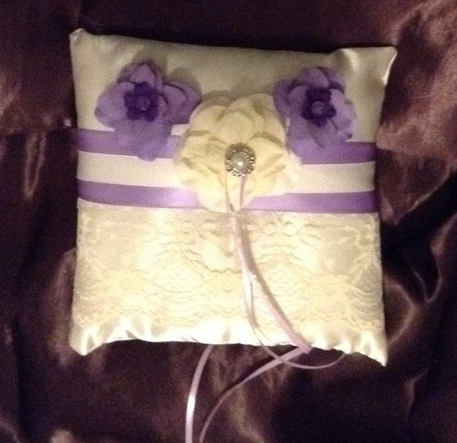 white or ivory custom made ring pillow lace with purple lavender